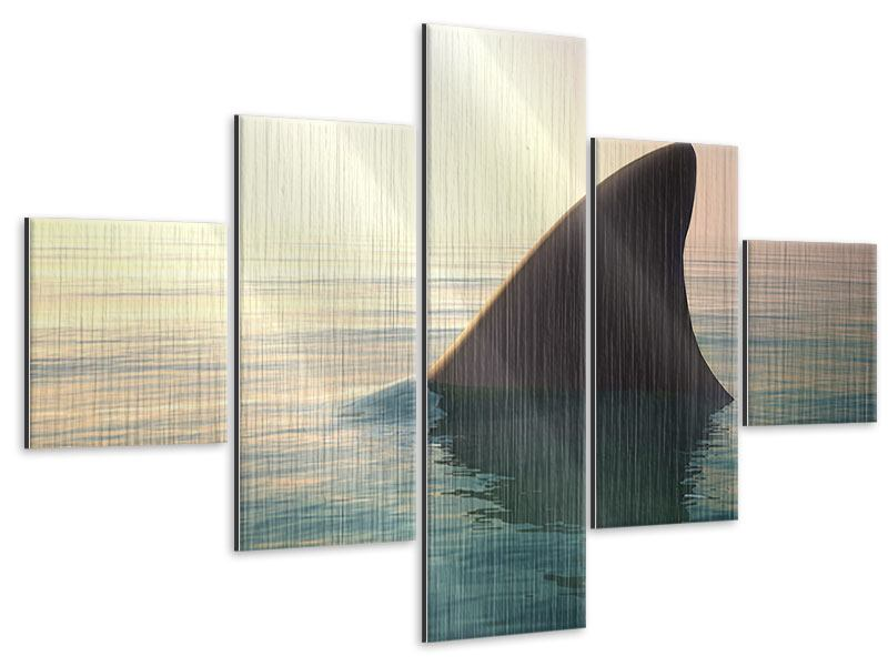 Metallic-Bild 5-teilig Haifischflosse