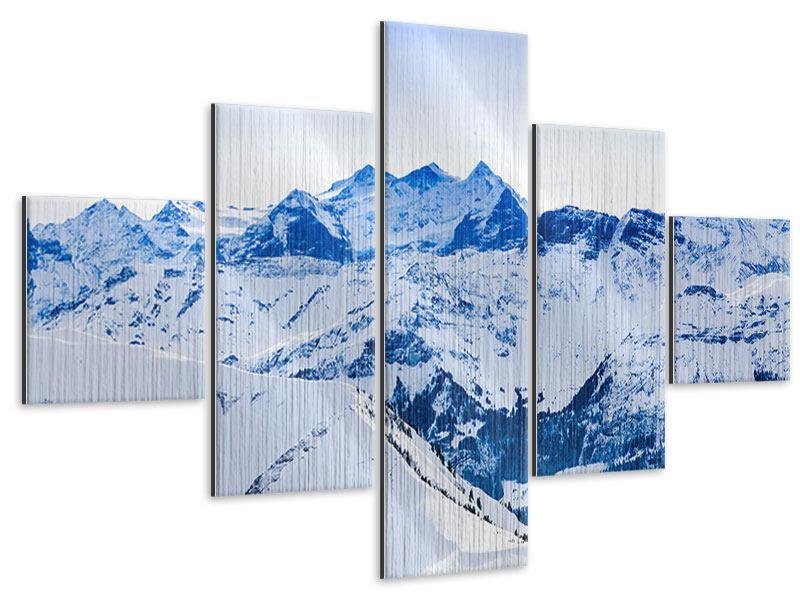 Metallic-Bild 5-teilig Die Schweizer Alpen