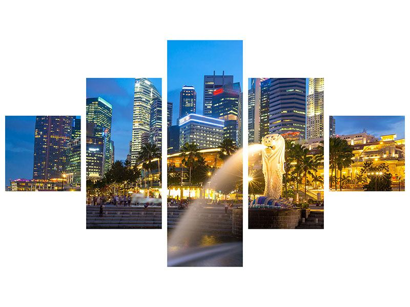 Metallic-Bild 5-teilig Skyline Singapur im Lichtermeer