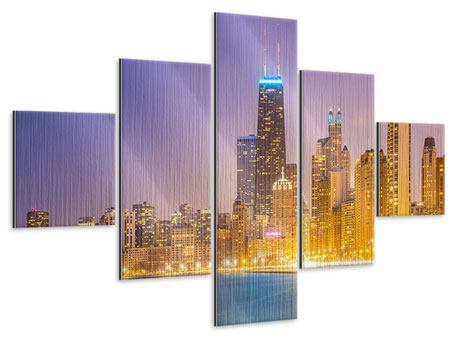 Metallic-Bild 5-teilig Skyline Chicago in der Nacht