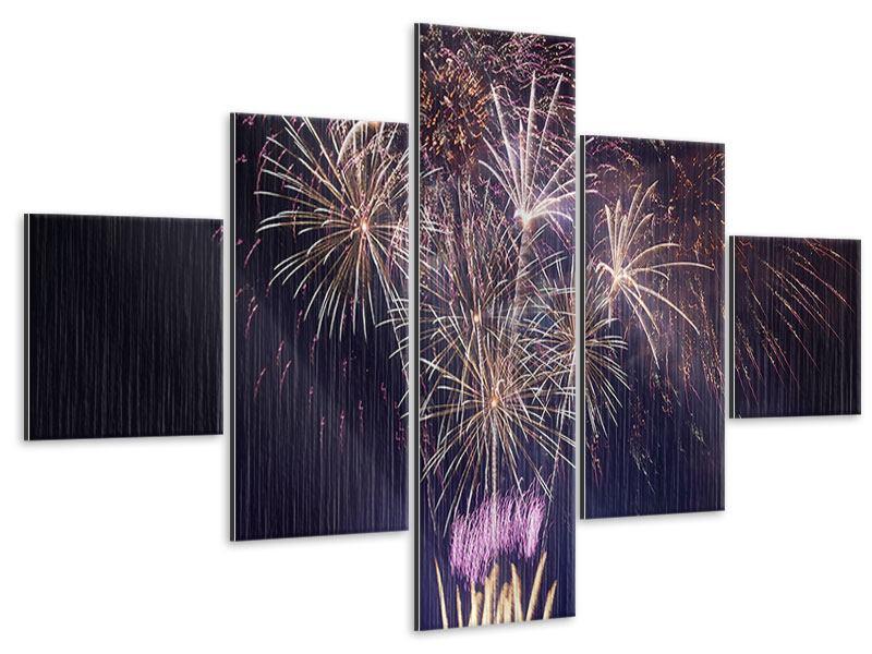 Metallic-Bild 5-teilig Feuerwerk