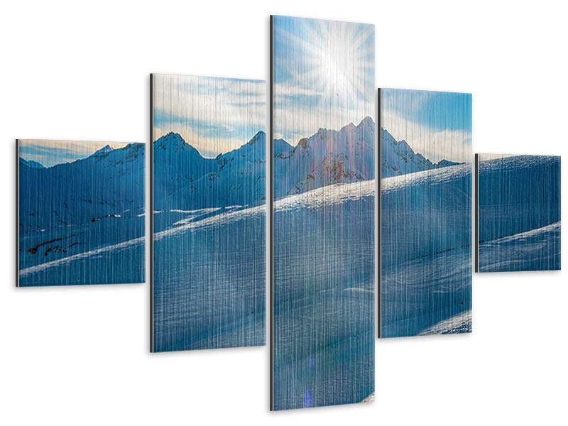 Metallic-Bild 5-teilig Ein Wintermärchen in den Bergen