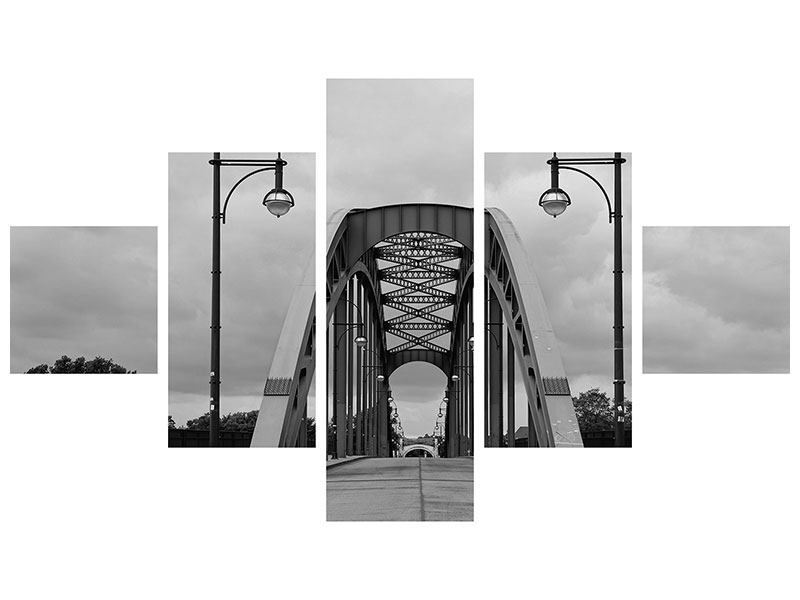 Metallic-Bild 5-teilig Poetische Brücke