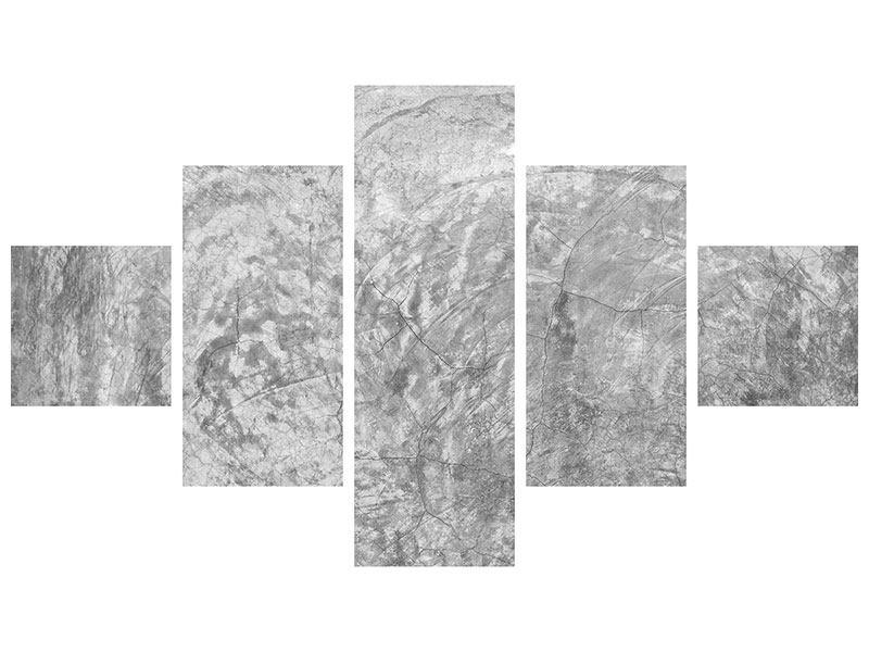 Metallic-Bild 5-teilig Wischtechnik in Grau