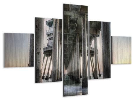 Metallic-Bild 5-teilig Brückenpfeiler