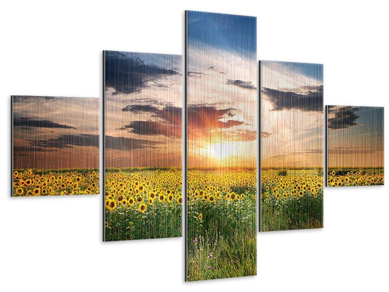 Metallic-Bild 5-teilig Ein Feld von Sonnenblumen