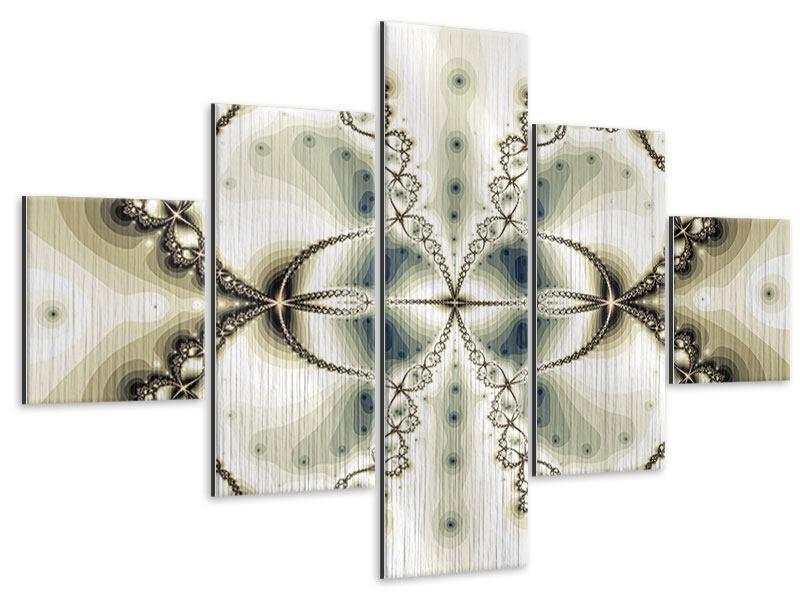 Metallic-Bild 5-teilig Abstrakter Schmetterling