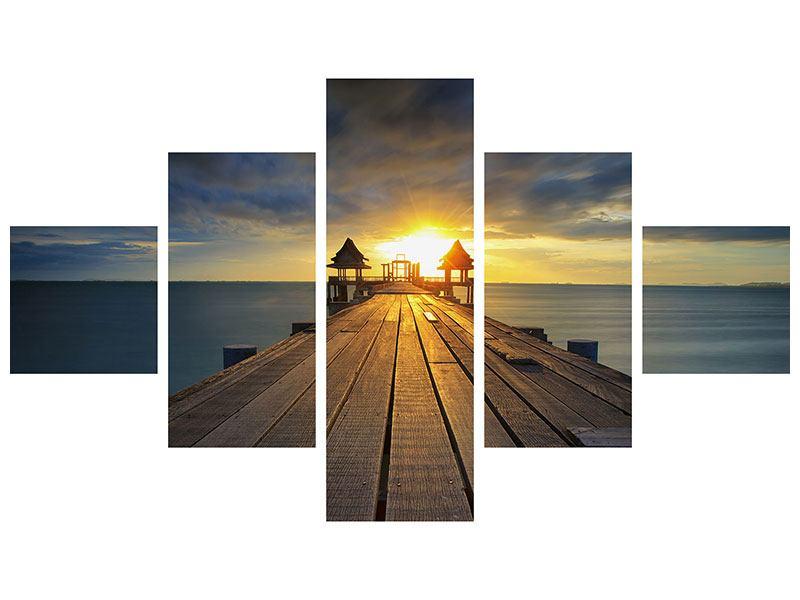 Metallic-Bild 5-teilig Der Sonnenuntergang bei der Holzbrücke