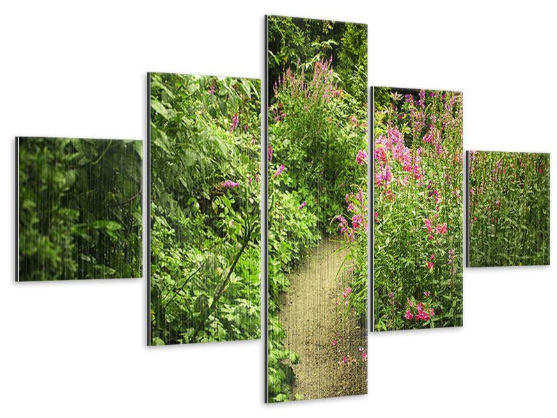 Metallic-Bild 5-teilig Gartenweg
