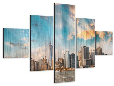Metallic-Bild 5-teilig Skyline New York from the other Side