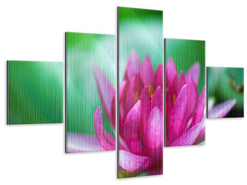 Metallic-Bild 5-teilig Lotus in Pink