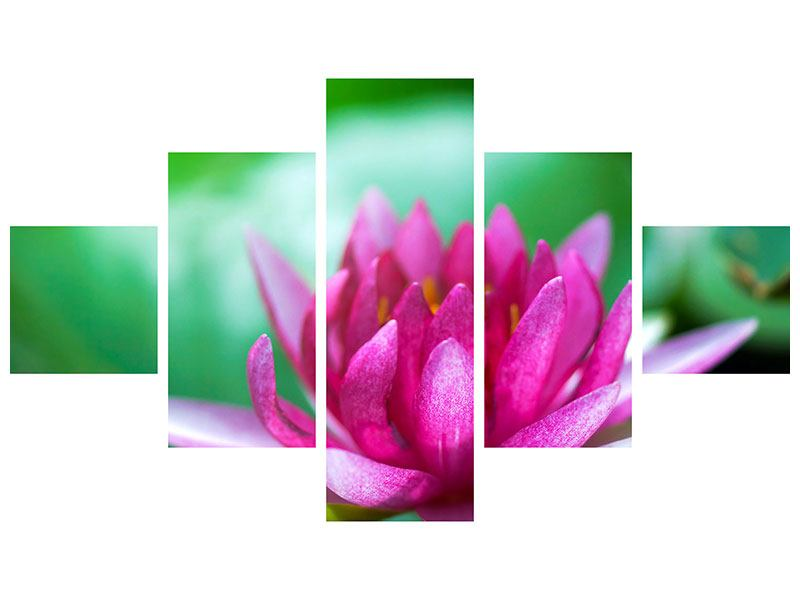 Metallic-Bild 5-teilig Lotus in Pink