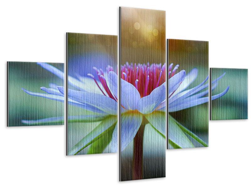 Metallic-Bild 5-teilig Pretty Lotus