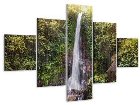 Metallic-Bild 5-teilig Wasserfall Bali