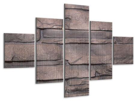 Metallic-Bild 5-teilig Luxusmauer