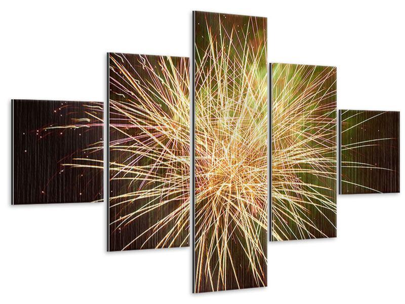 Metallic-Bild 5-teilig Feuerwerk XXL