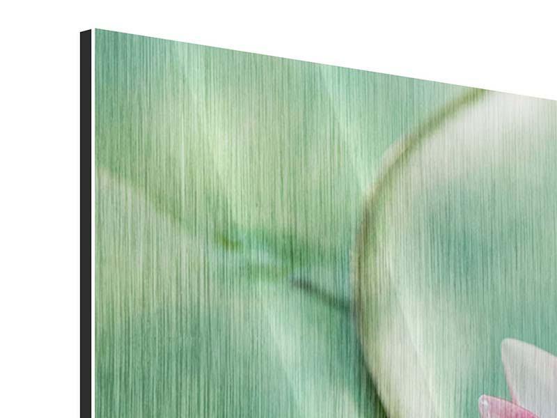 Metallic-Bild 5-teilig Der Frosch und das Lotusblatt