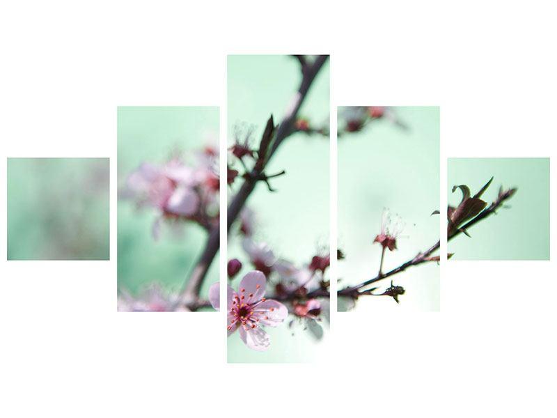 Metallic-Bild 5-teilig Die japanische Kirschblüte