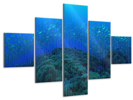 Metallic-Bild 5-teilig Fischschwärme