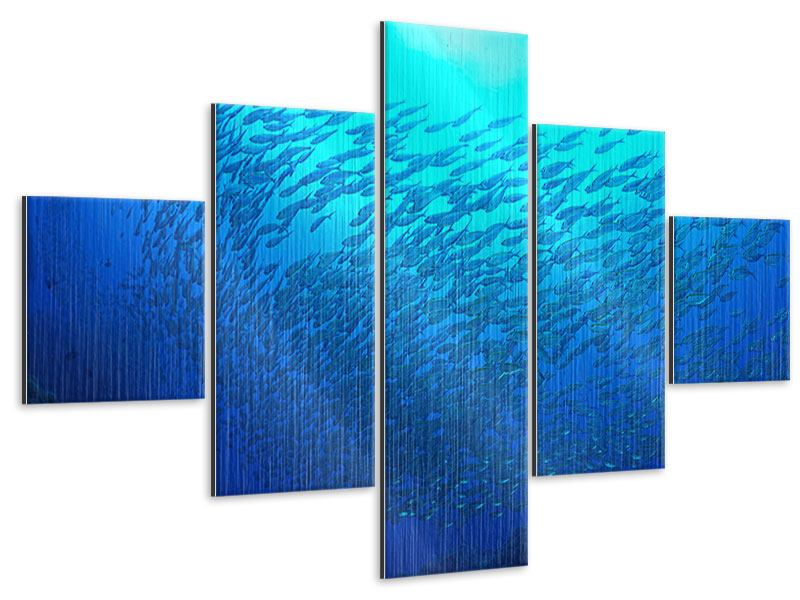 Metallic-Bild 5-teilig Fischwelt