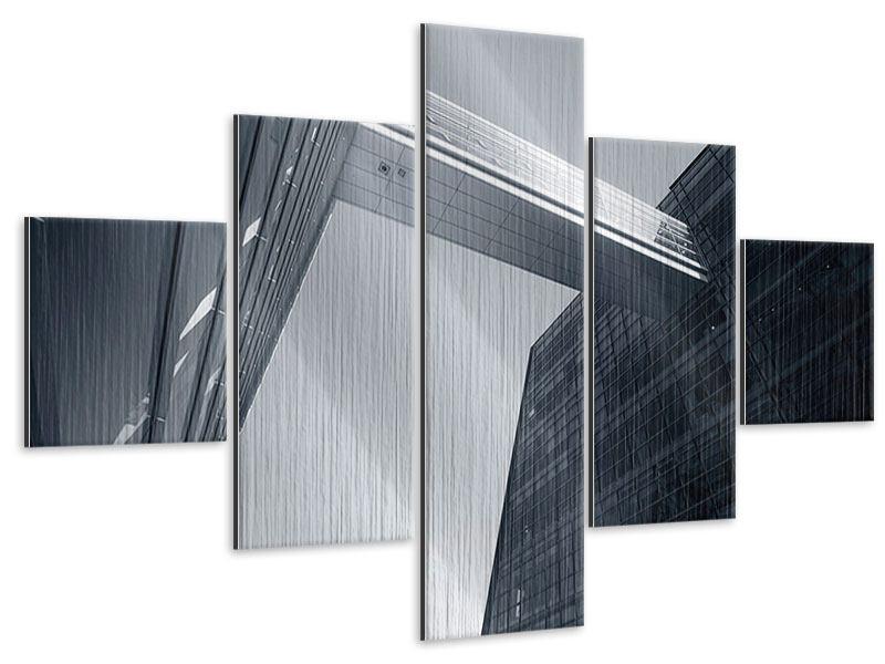 Metallic-Bild 5-teilig Der schwarze Diamant Kopenhagens