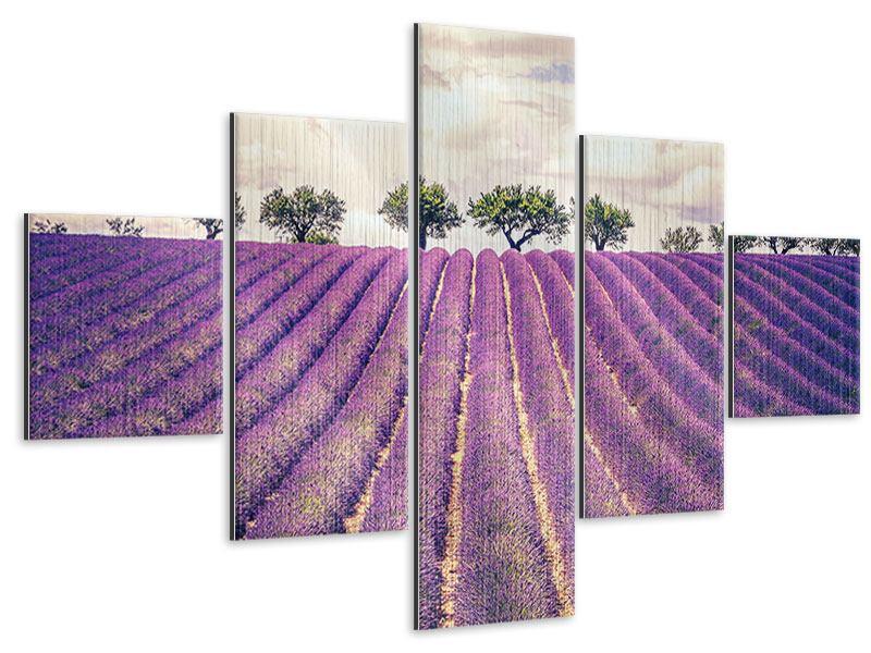 Metallic-Bild 5-teilig Das Lavendelfeld