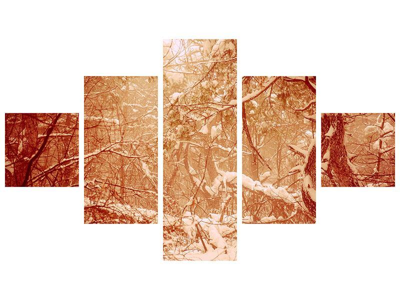 Metallic-Bild 5-teilig Schneewald