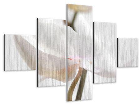 Metallic-Bild 5-teilig XXL Orchideenblüte