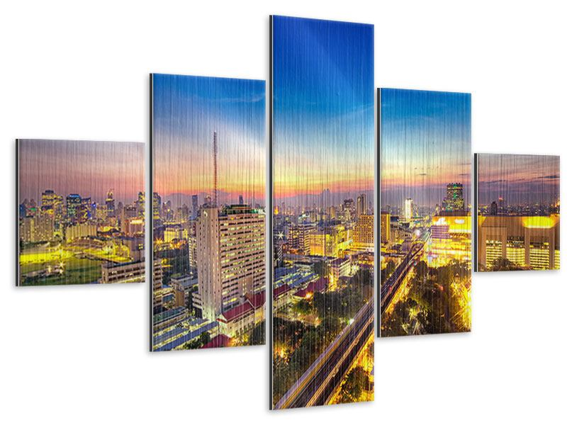 Metallic-Bild 5-teilig Bangkok