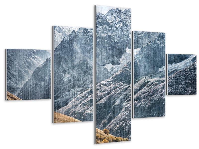 Metallic-Bild 5-teilig Gigantische Berggipfel