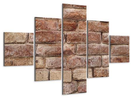 Metallic-Bild 5-teilig Loft-Mauer