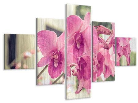 Metallic-Bild 5-teilig Ein Fensterplatz für die Orchideen