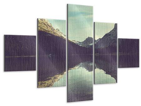 Metallic-Bild 5-teilig Spiegelung im Bergsee