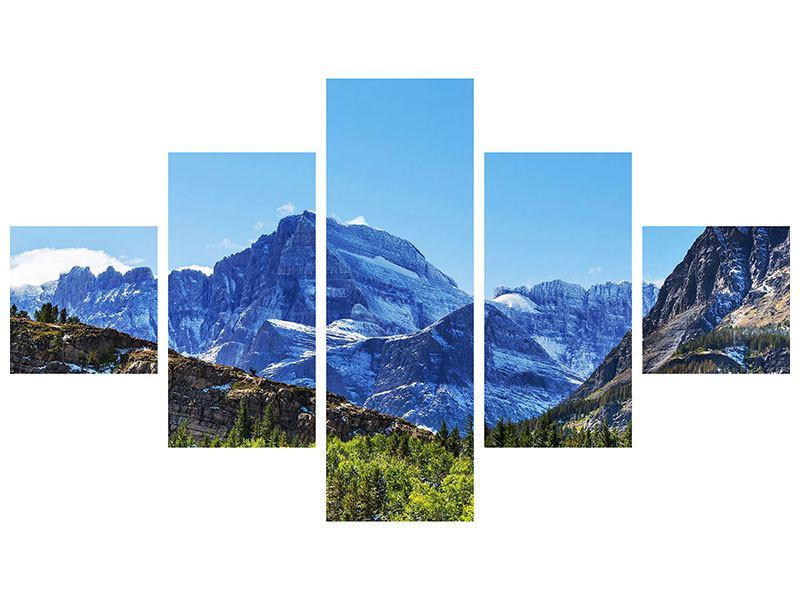 Metallic-Bild 5-teilig Dem Gipfel entgegen