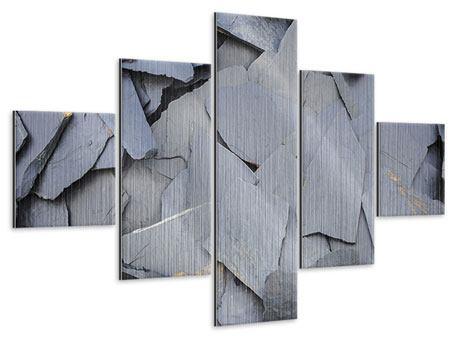 Metallic-Bild 5-teilig Schieferplatten