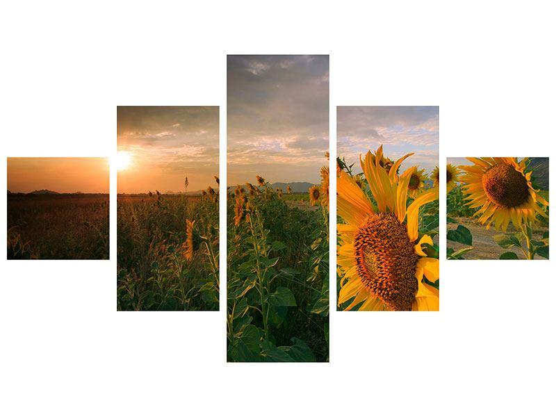 Metallic-Bild 5-teilig Sonnenblumen im Lichtspiel