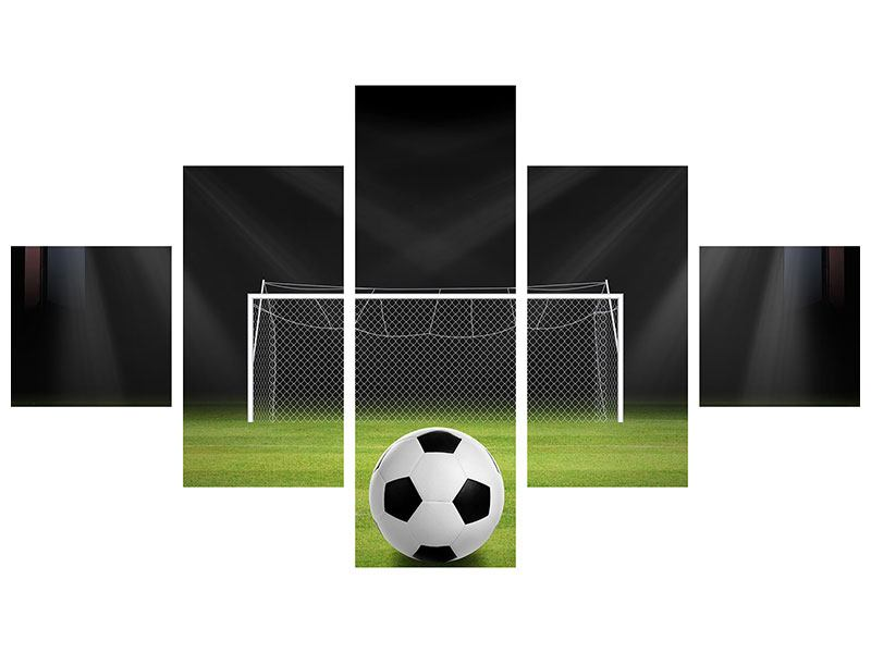 Metallic-Bild 5-teilig Fussball-Tor