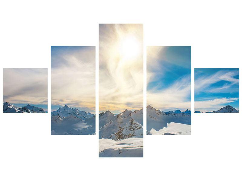 Metallic-Bild 5-teilig Über den verschneiten Gipfeln