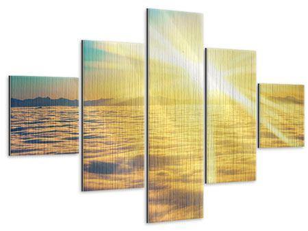 Metallic-Bild 5-teilig Sonnenuntergang über den Wolken