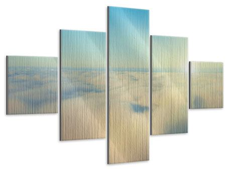 Metallic-Bild 5-teilig Dämmerung über den Wolken