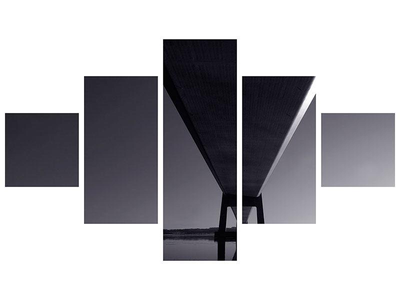 Metallic-Bild 5-teilig Die Brücke über tiefes Wasser