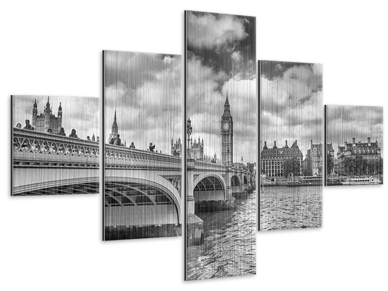 Metallic-Bild 5-teilig Westminster Bridge
