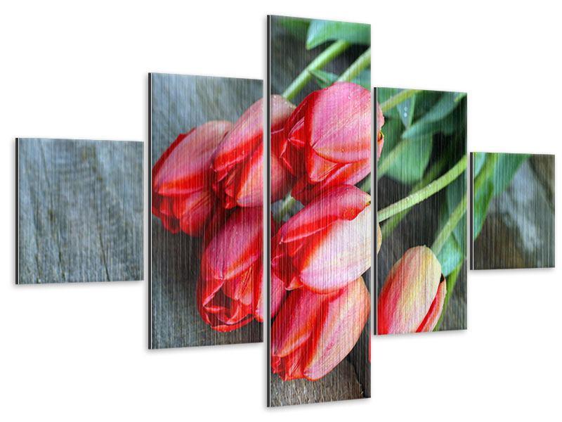 Metallic-Bild 5-teilig Der rote Tulpenstrauss