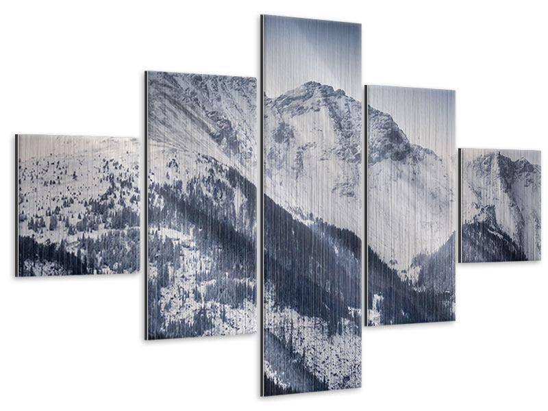 Metallic-Bild 5-teilig Die Berge der Schweiz