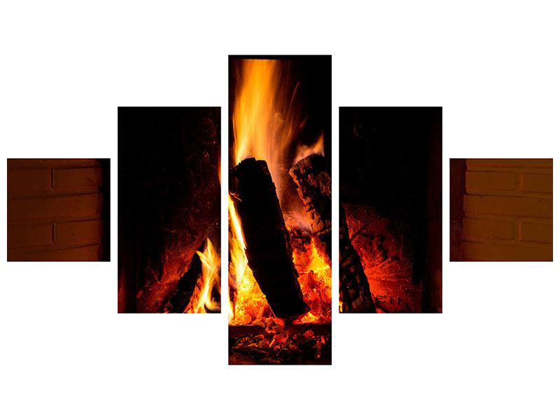 Metallic-Bild 5-teilig Feuer im Kamin