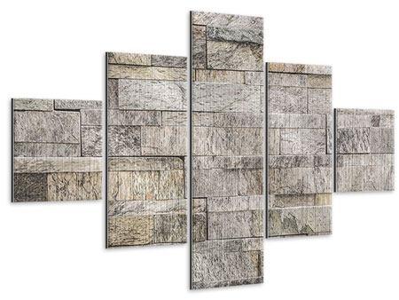 Metallic-Bild 5-teilig Elegante Steinmauer