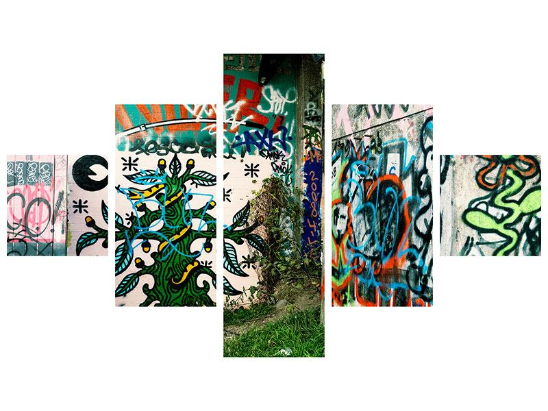 Metallic-Bild 5-teilig Graffiti im Hinterhof