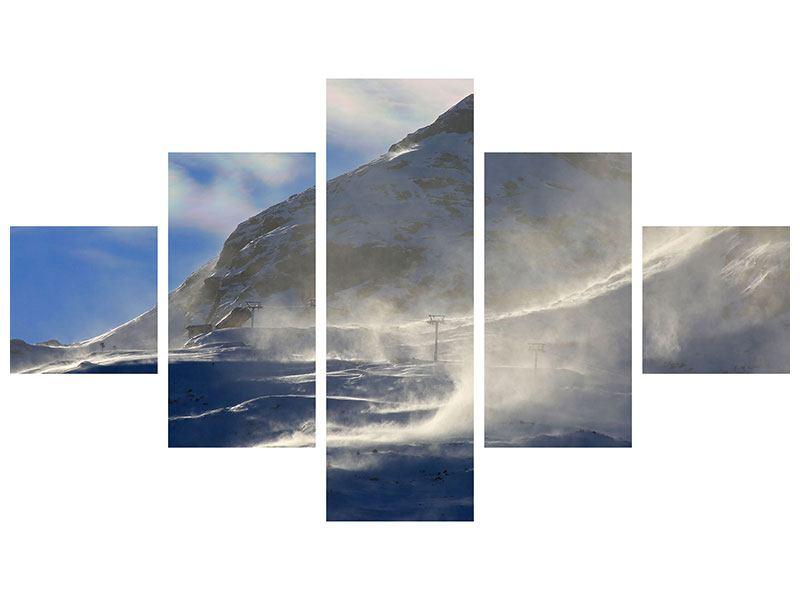 Metallic-Bild 5-teilig Mit Schneeverwehungen den Berg in Szene gesetzt