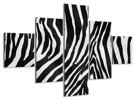 Metallic-Bild 5-teilig Zebramuster
