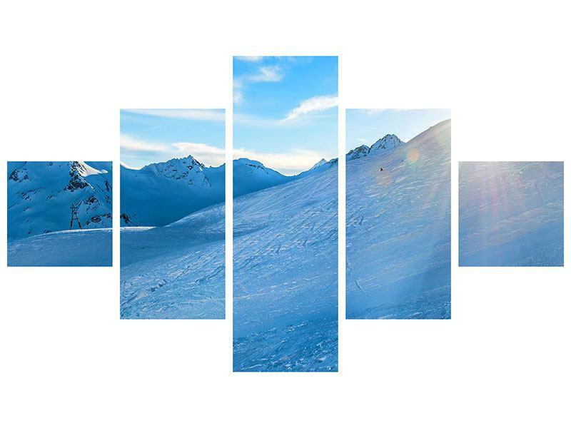 Metallic-Bild 5-teilig Sonnenaufgang in den Bergen